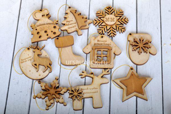 деревянные новогодние игрушки
